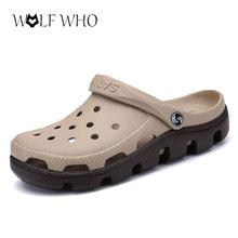 WolfWho Neue Sommer Sandalen Männer Casual Schuhe Mules Clogs Croc Atmungs Strand Hausschuhe Männlich Wasser Hohl Gelee Chaussure Homme