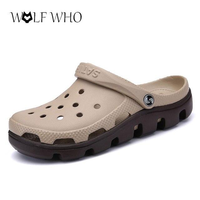 14a91fef3 € 16.9 37% de réduction|WolfWho nouveau été sandales hommes chaussures  décontractées Mules sabots respirant plage pantoufles mâle eau creuse ...
