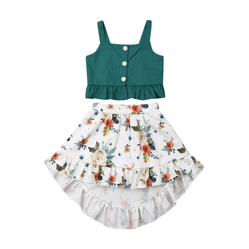 UK Fashion Kid Baby Girls Dot Crop Tops Striped Bowknot Button Dress Outfits Set