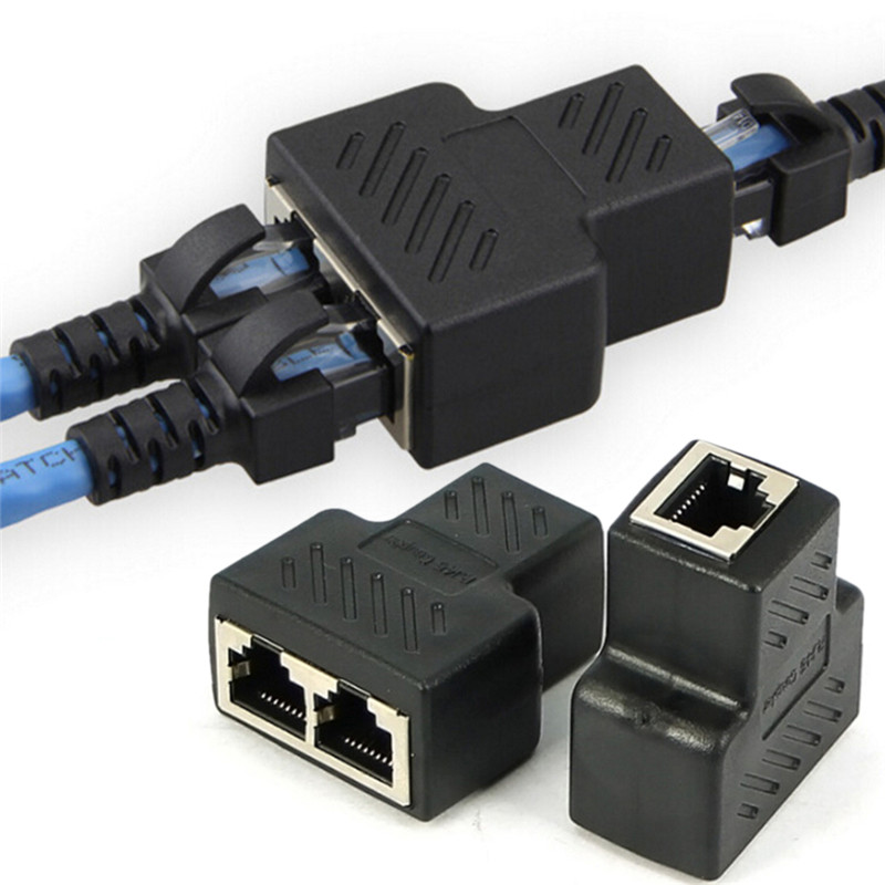 1 To 2 Ways LAN Ethernet Network Cable RJ45 Female Splitter Connector Adapter For Laptop Docking Stations Drop Ship