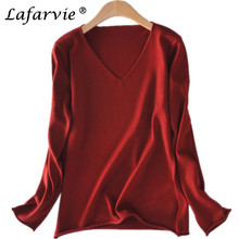 Lafarvie New Fashion Off Sale Cashmere Sweater V-Neck Full Sleeve Woman Sweaters Winter Warm Knitted Pullovers 10Colors S-XXL