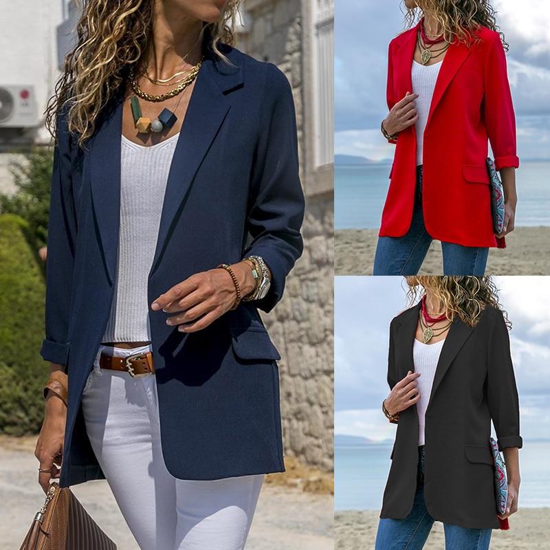 שחור אדום כחול עסקי Slim חליפת נשים אלגנטית עבודה רזה מעיל 2018 סתיו אופנה דש בלייזר מעיל ארוך שרוול אחוי חליפה