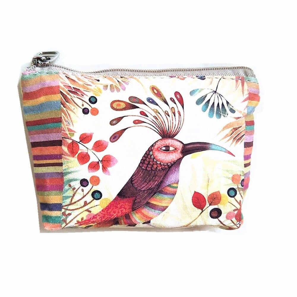 M057 Creative Cartoon Women Purses Cotton Fabric Small Fresh Animal Bird Rabbit Quality Fabric Sweet Girl Cute Coin Card Bag