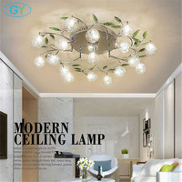 AC110V 220 В современного искусства и дизайна светодио дный люстра блеск алюминиевый провод лампы хрустальные люстры зеленый лист Декор потоло