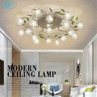 AC110V 220V Modern Art Design LED Chandelier Lustre Aluminum Wire Lamp Chandeliers Crystal Green Leaf Decor