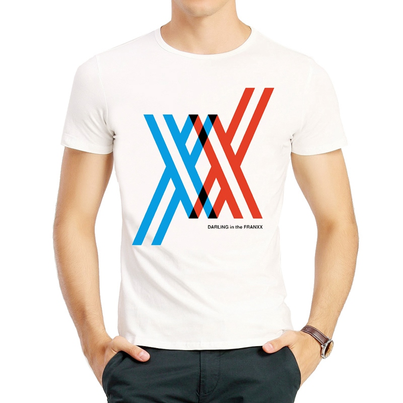 DARLING in the FRANXX   T     Shirt   Fashion Short Sleeve White Color DARLING in the FRANXX Logo   T     Shirt   Tees Top tshirt Unisex   T  -  shirt