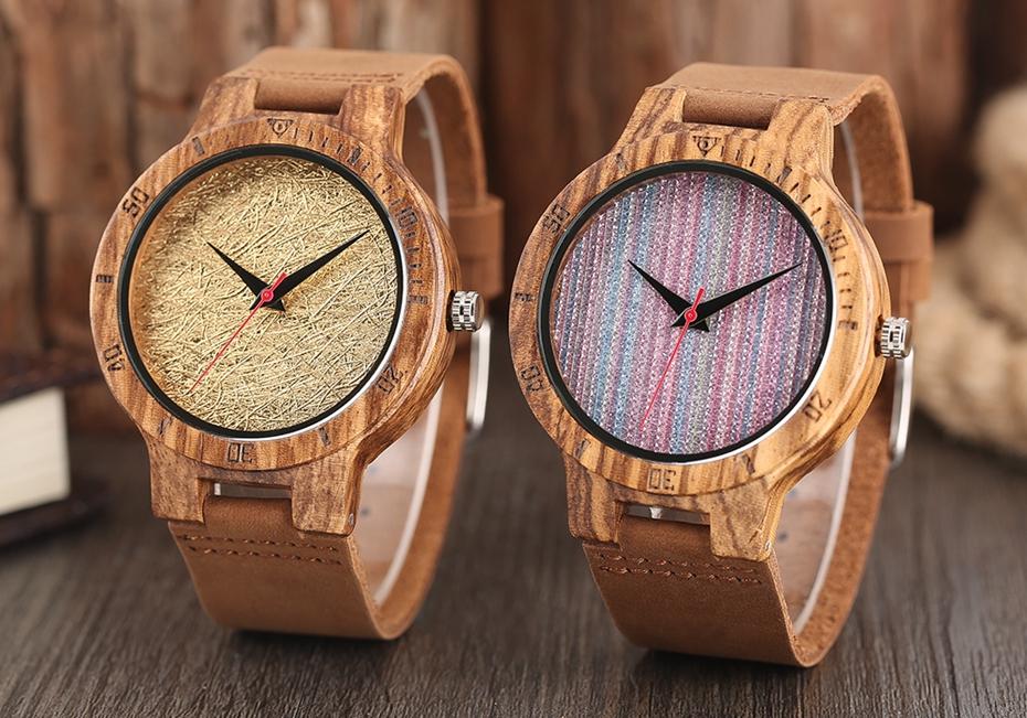 Unique Stripes Lines Dial Wooden Watch Mens Bamboo Creative Quartz Clock Genuine Leather Bangle Reloj de madera 2017 New Fashion  (24)