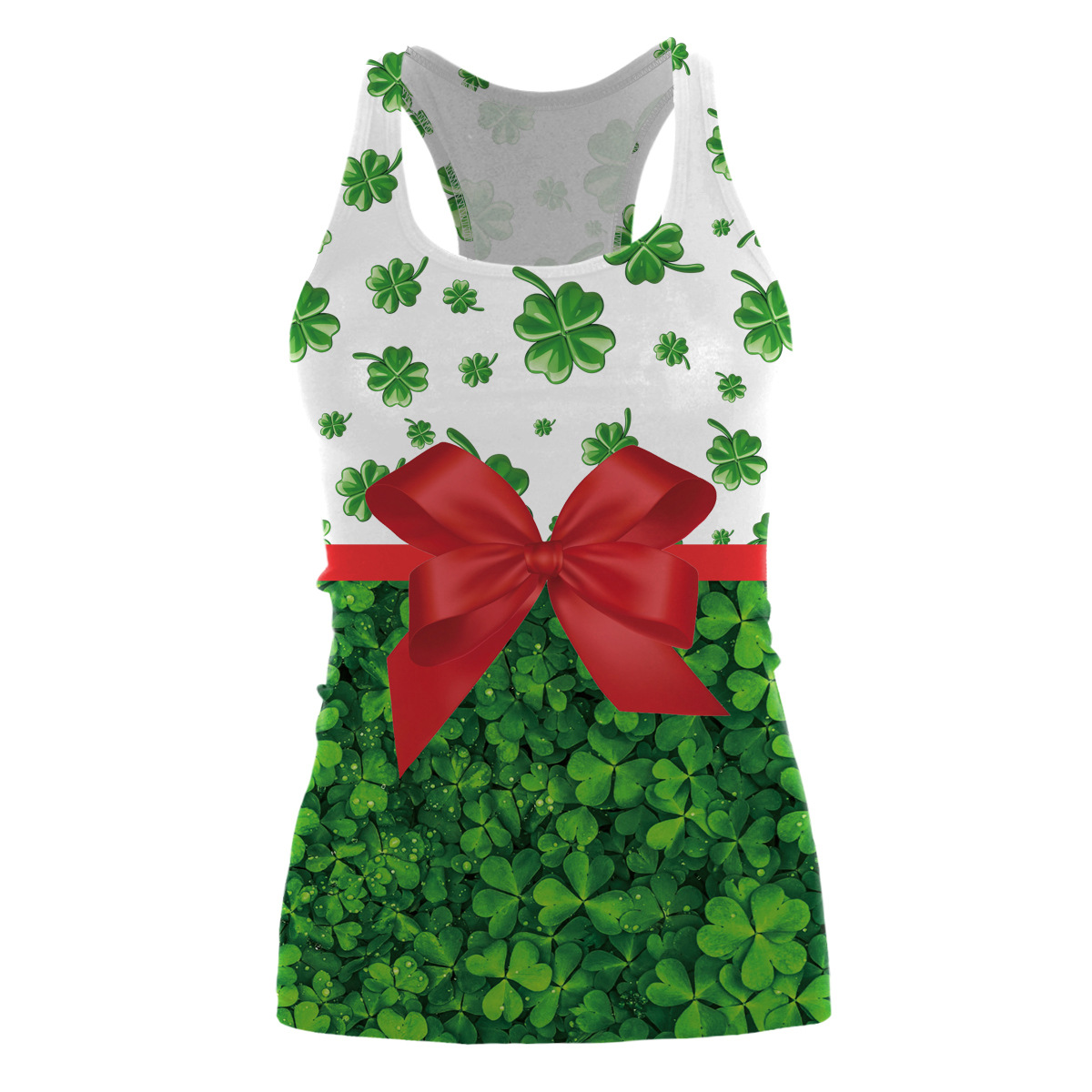 45043194085 2018 New Womens Green Leaves Clover Vest 3D Digital Printed St. Patrick s  Day Tops Tanks Free Size