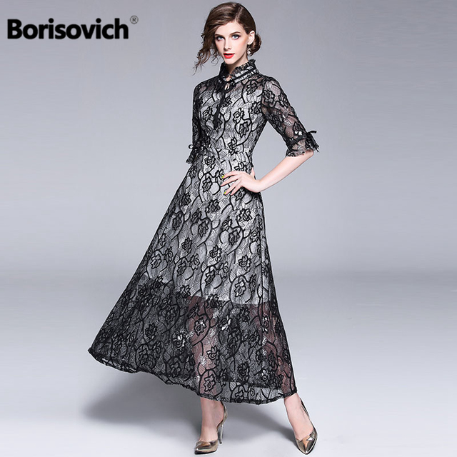 2071318d6c9 Borisovich Women Lace Long Dress New 2018 Autumn Fashion England Style  Flare Sleeve Elegant Ladies Evening Party Dresses M604