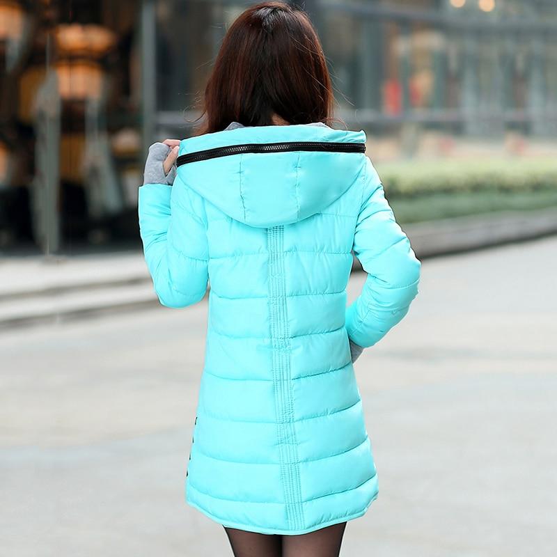 2018 women winter hooded warm coat slim plus size candy color cotton padded basic jacket female medium-long  jaqueta feminina 4