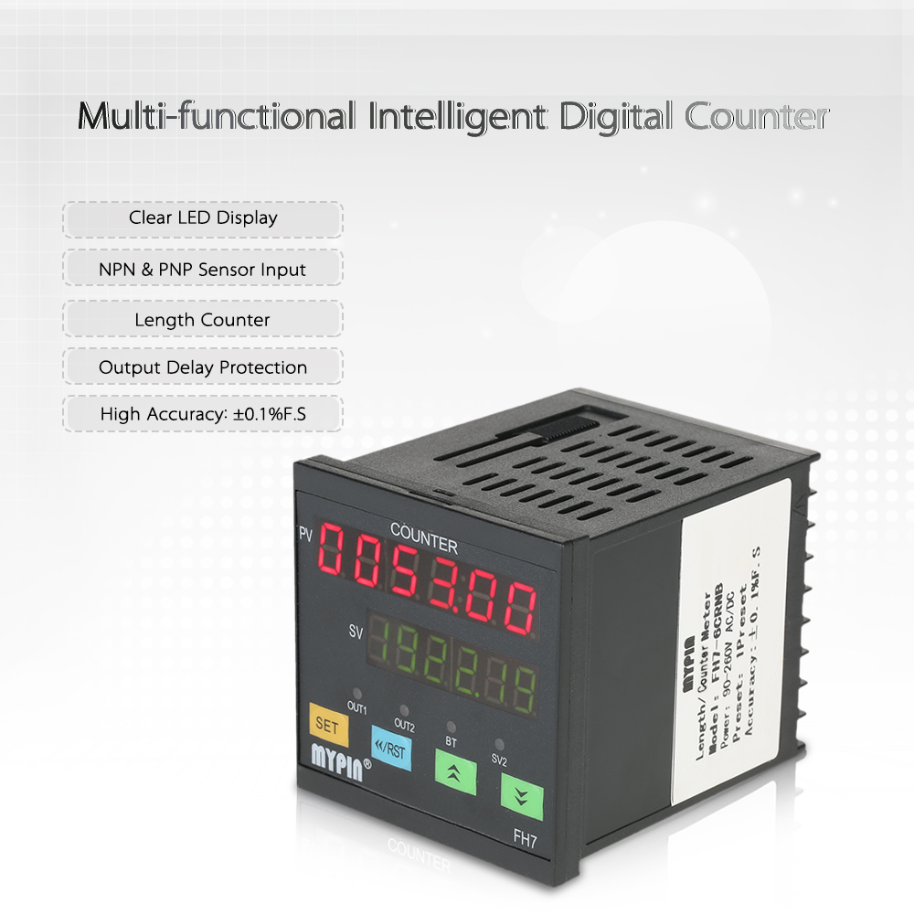 MYPIN 90-260V AC/DC Intelligent 6 Digital Counter Multi-functional Length Counter Meter Length machine Relay Output PNP NPN