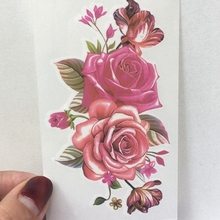 48fb71298 Tatuaje temporal impermeable rojo rosa moth orquídea flores tatto pegatinas  flash tatoo tatuajes falsos para chica Mujer