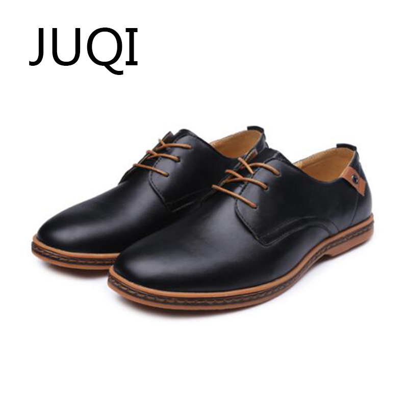 JUQI 2018 Men'S Casual Shoes Men Shoes For PU Leather Solid Loafers Lace-Up Moccasins Mens Luxury Brand Moccasin Rubber Shoes