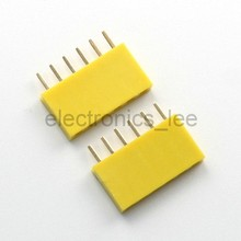 Yellow 6Pin 1*6 Single Row Female pin Header 2.54mm Socket Connector for Arduino