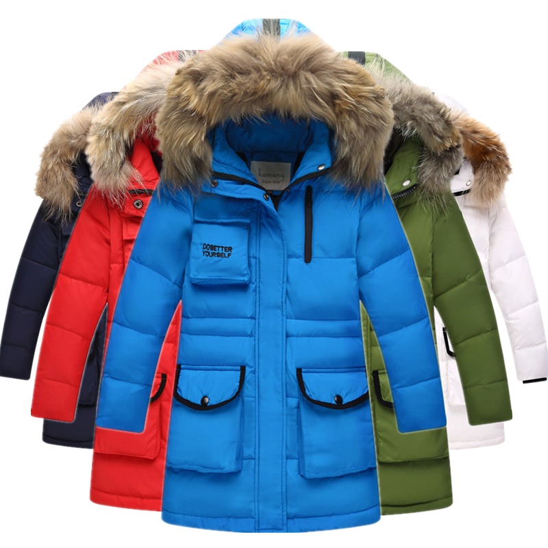 -30 Russian Winter Boys Thickened Warm Down Jackets -30 Degrees Girls Big Raccoon Fur Collar Hooded Down & Parkas Kids Coats