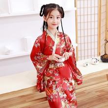 Детское кимоно; банные халаты; одежда с цветочным рисунком; праздничная одежда для маленьких девочек; платья принцессы; шелковые Детские традиционные японские маскарадные костюмы