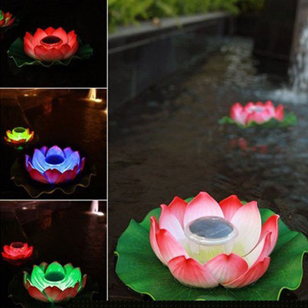 Solar Powered Led Lotus Flower Lamp <font><b>Water</b></font> Resistant Outdoor Floating Pond Night-<font><b>Light</b></font> For Garden <font><b>Pool</b></font> Party Garden Decoration image
