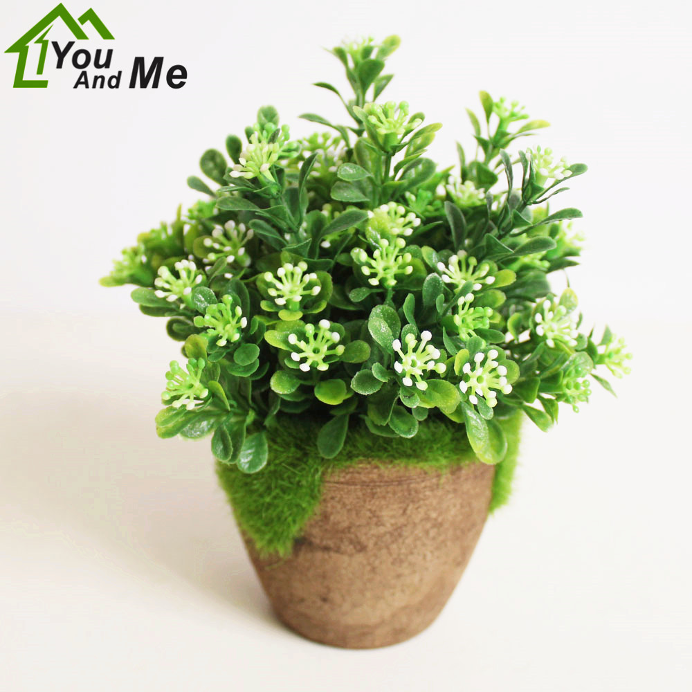 1 Set Simulation Green Plant +Pulp Basin Vase Potted Artificial Flower Bonsai Balcony Houseplant Home Garden Decor