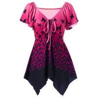 2018 Women S New Irregular Gradient Color Drawstring V Neck Blouse Butterfly Printing Short Sleeve Tops