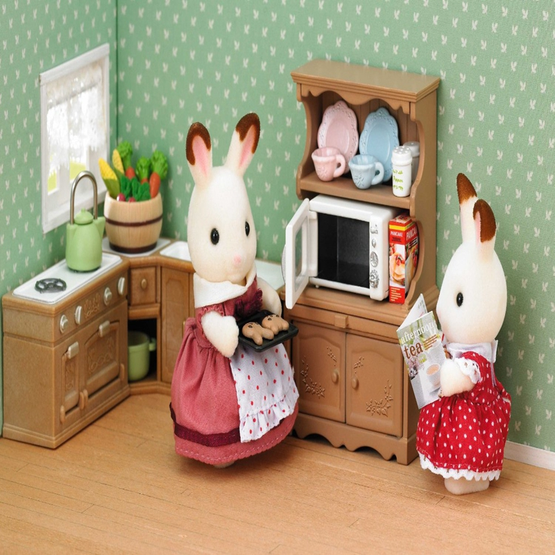 1 12 miniature furniture cabinet mini cupboard microwave - Sylvanian families cuisine ...