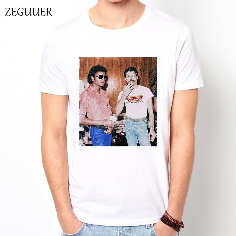 Freddie Mercury And Michael Jackson Harajuku Tshirt Streetwear Print Fashion Wind Cotton Round Neck Men's T-shirt Casual Clothes