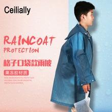 EVA Plaid Dirt-proof 3-10 years old Kids Rain Poncho Hooded Raincoat For Children Waterproof Rain Coat Outdoor Rainwear