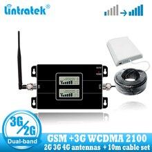 Lintratek GSM 900 WCDMA 2100 Усилитель сотового сигнала Двухдиапазонный 2G 3g ретранслятор мобильного телефона связь 2100 МГц усилитель