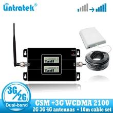 Lintratek GSM 900 WCDMA 2100 סלולארי אותות בוסטרים dual band 2G 3G משחזר נייד טלפון סלולרי תקשורת 2100MHZ מגבר