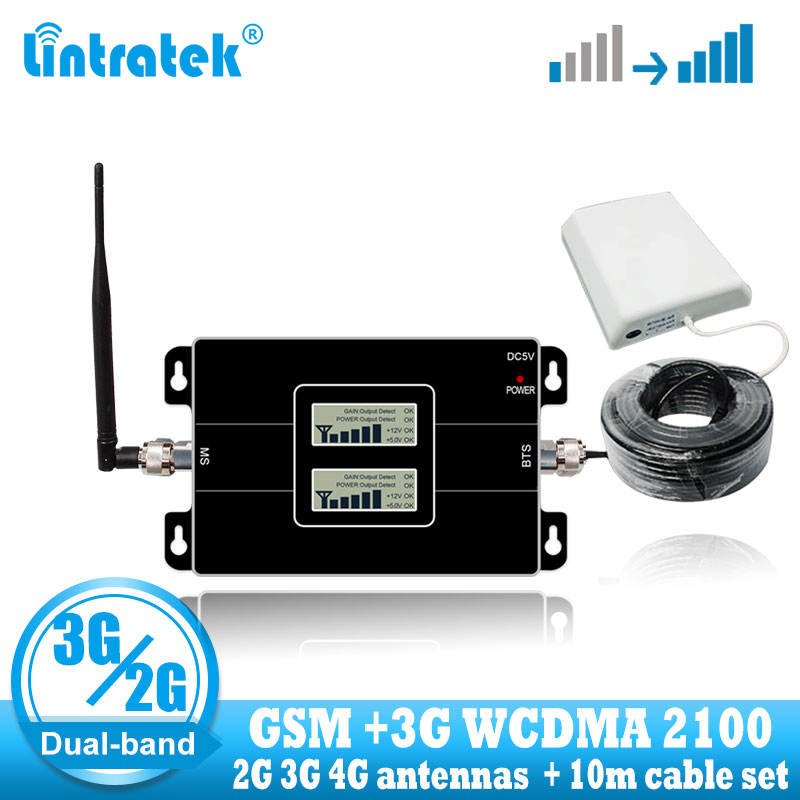 Lintratek GSM 900 WCDMA 2100 Cellular Signal Booster Dual Band 2G 3G Repeater Mobile Cell Phone Communication 2100MHZ Amplifier