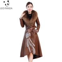Women Genuine Leather Jacket Superior quality Leather Coat Real Sheepskin Lambskin Soft Leather Fox Fur Collar Mink Fur Coats