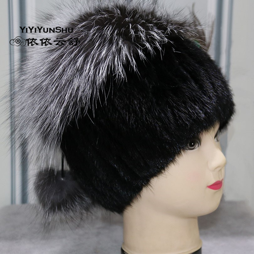 YIYIYUNSHU Real Mink Fur Hats For Women Trendy Brand Winter Genuine Fox Fur Beanies Pompom Hat Warm Thick Fur Knitted Hats winter mink hat for women genuine fox fur pompom hats for women winter cable knitted cap female real mink fur skullies