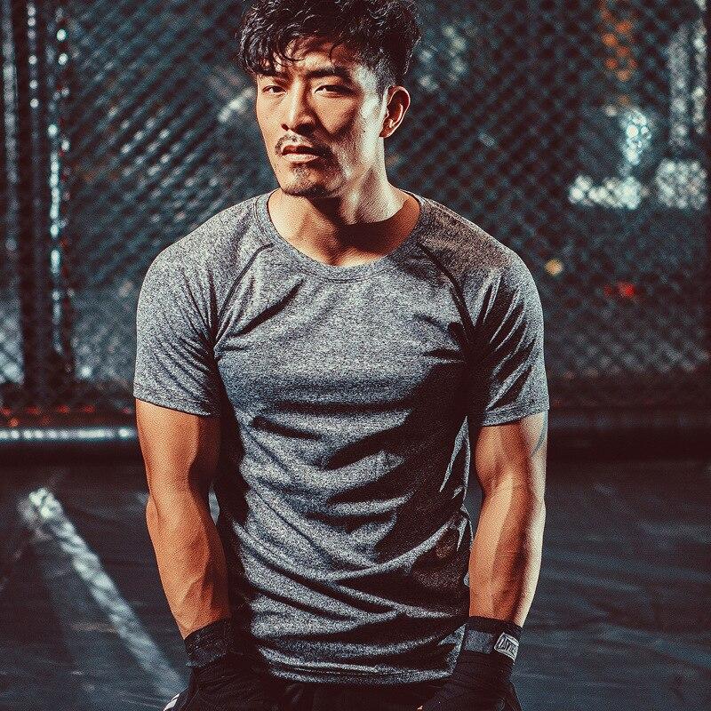 Mens Training Running T Shirt Fitness Riding Short Sleeve for Men Elastic Quick-drying Short Sleeve T-Shirt