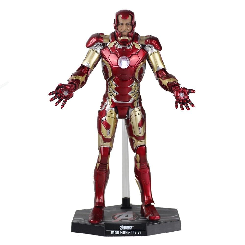 Super Hero Tony Stark Mark XLII MK42 Shine With LED Light PVC Assemble 30cm/12(1/6 Scale) Collection Model Toy DC008083 35150 american blue wave mk ii assemble model boat 1 35