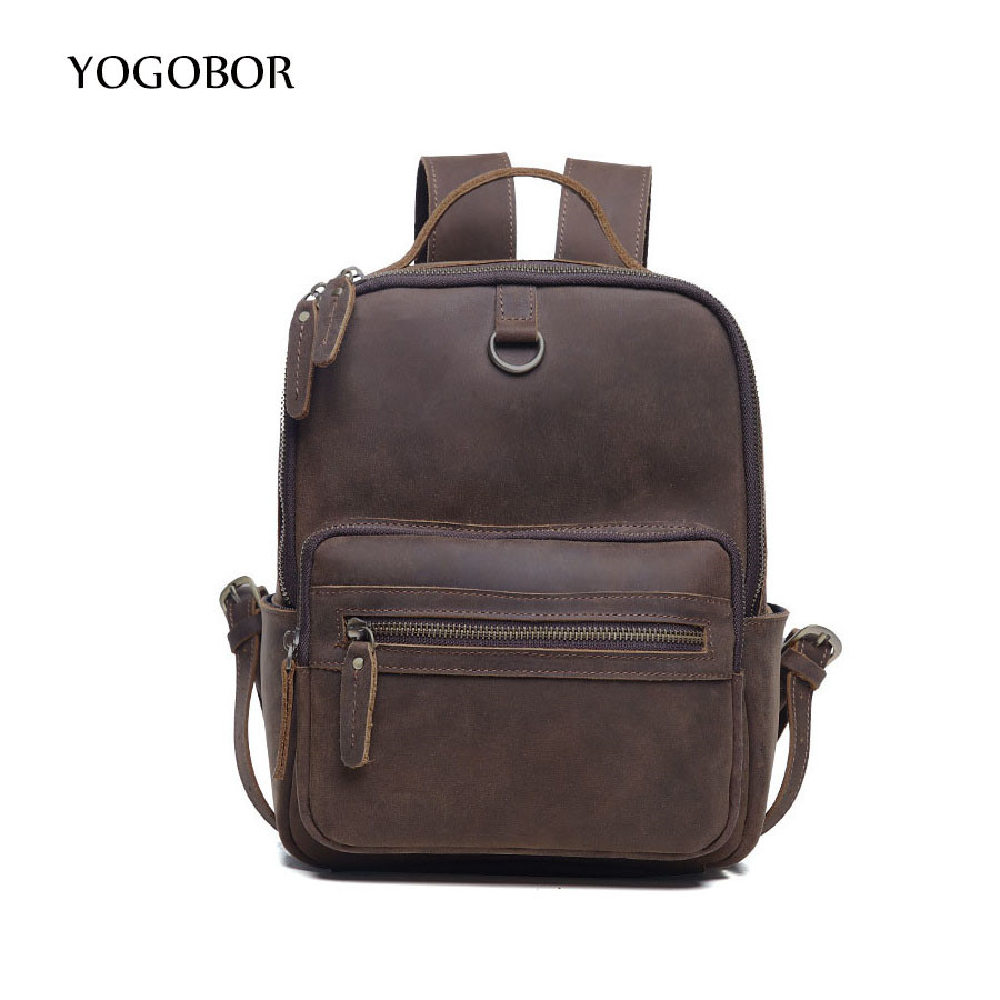 YOGOBOR Brand Backpack Cowhide Women Backpacks Solid Vintage Girls School Bags for Girls Brown Genuine Leather Women Backpack