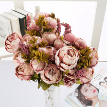 Artificial Plants 13 Head European Style Peony Rose Flowers Bouquet Thanksgiving Home Decoration Fake