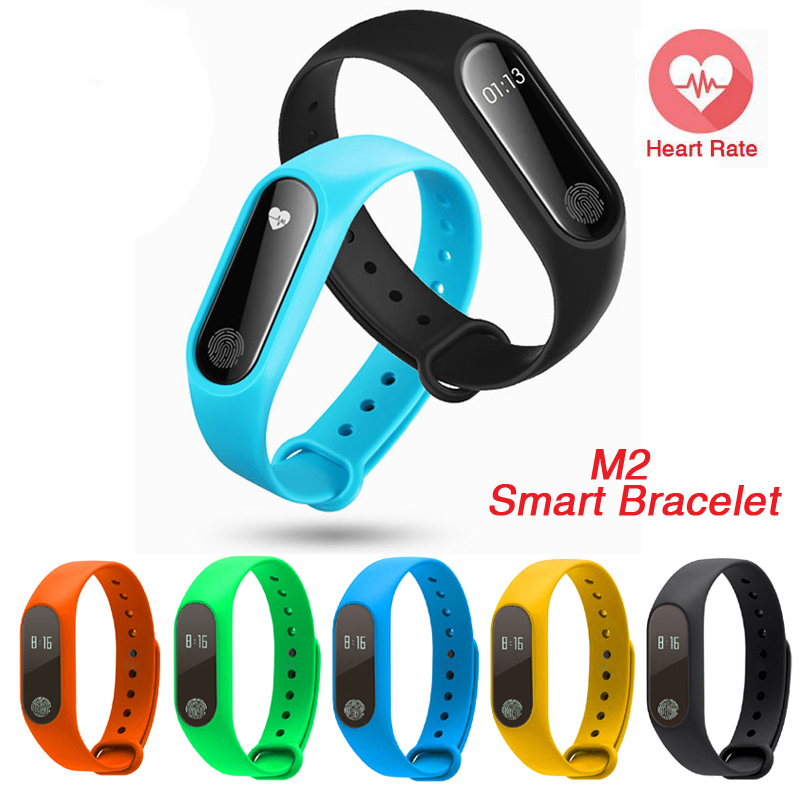 2017 New M2 Smart Bracelet Heart Rate Monitor Bluetooth Smartband Health Fitness Tracker Smart Band Wristband for Android iOS T4