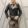 Мужская мода slim fit PU кожаная куртка отложным воротником кожа сращивания пальто мотоциклетная куртка мужская punk rock stage costume A426