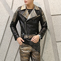 Fashion men's slim fit PU leather jacket turndown collar leather splice coat mens motorcycle jacket punk rock stage costume A426