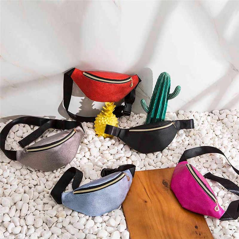 d63425c67304 2018 Fashion Leather Waist Packs Women Silver mochila cintura Waist Bag  Belt Bag Female Pouch PU