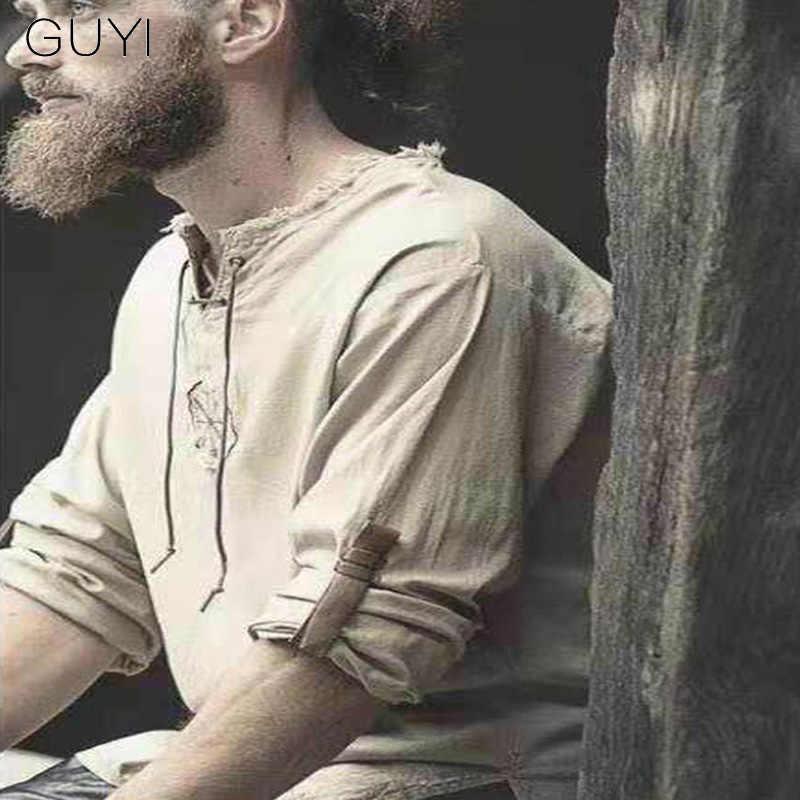 GUYI レトロヴィンテージリネン生ネック Tシャツ男性調節可能な半袖巾着トップス & Tシャツファッションカジュアル Exotric tシャツ