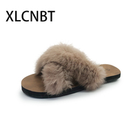New style crossed hair slippers furry slides women flat cool home slipper fashion sexy ladies shoes females outside slipper