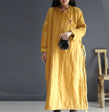 Johnature Women Maxi Dress Plus Cotton Thicken Chinese Style Warm Clothes 2016 Winter New Loose Parkas Vintage Button Long Robes