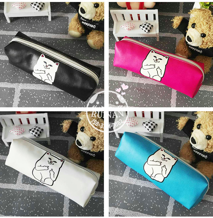 4 Colors Kawaii Middle Finger Cat Pencils Case Pu School