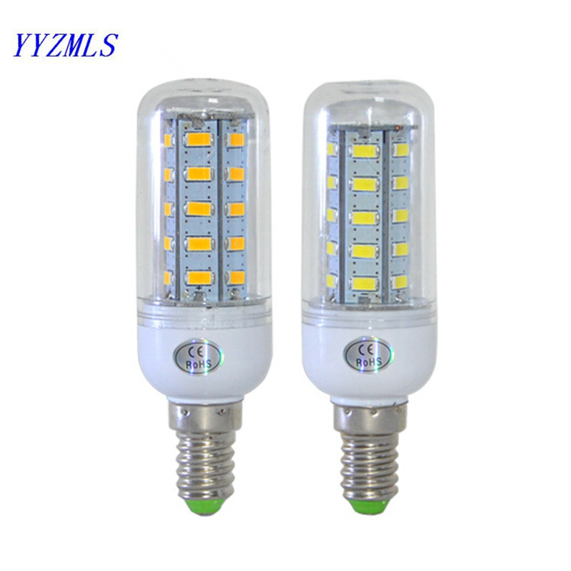 New fashion High Power E14 Corn Bulb Light 5730 SMD 36LED 12W 220V 230V 240V Spot light LED bulb lamp Warm/Cool White with Cover