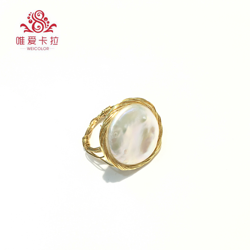 WEICOLOR DIY Design Handmade Ring.18 22mm Good Natural Freshwater Coin Pearl on Gold Mixed. Contact for Size in Diameter. - 2