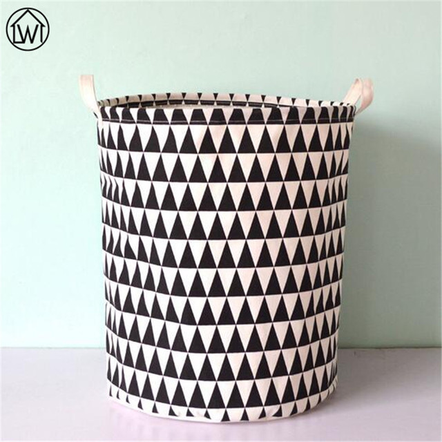 Scandinavian 40X50cm Canvas Fabric Foldable Storage Basket Black Geometric  Pattern Kids Toy Storage Basket Laundry Basket