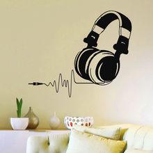 2016 hot Vinyl Wall Decals DJ Headphones Audio Music Pulse Sign Decal Art Mural OS1500 free shipping