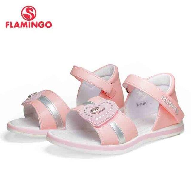 Фламинго бренд 2018 Аппликация Лето крюк и петля повседневные сандалии кожаная стелька ценность Уличная обувь для маленьких детей на плоской подошве 81S-XDB-0753