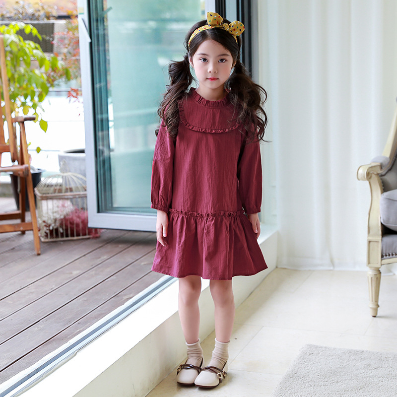 Full Sleeve Kids Girls Spring Dresses 2018 Cotton Dress Casual Solid Little Girl Knee-length For 4T-16T Child Clothes 4ds210 pocket full length tee dress page 4