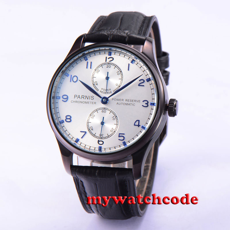 43mm parnis silver dial PVD case power reserve automatic movement mens watch 566 все цены